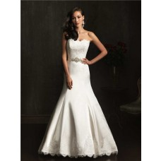 Designer Mermaid Strapless Lace Satin Wedding Dress With Crystal Belt