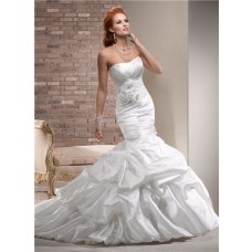 Designer Mermaid Strapless Ruched Taffeta Wedding Dress With Flowers