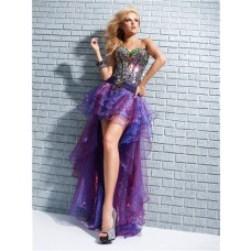 Designer New Sweetheart High Low Purple Organza Prom Dress With Colorful Rhinestone