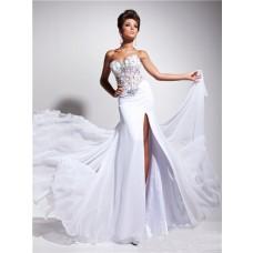 Designer Princess Sweetheart Long White Chiffon Corset Prom Dress Beading Flowers