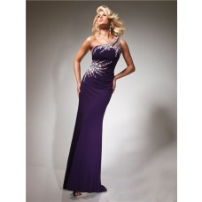 Designer Sheath One Shoulder Purple Chiffon Prom Dress With Beading Crystals