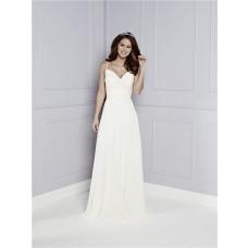 Destination A Line Sweetheart Spaghetti Straps Ivory Chiffon Ruched Wedding Dress Buttons