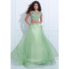 Elegant A Line Bateau Neck Cap Sleeve Light Green Chiffon Beaded Two Piece Prom Dress
