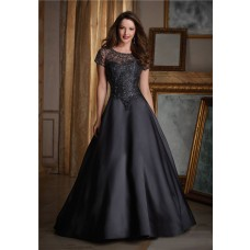 Elegant A Line Black Satin Tulle Beaded Formal Occasion Evening Dress With Short Sleeves