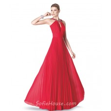 Elegant A Line Cut Out Front Red Chiffon Pleated Long Evening Prom Dress