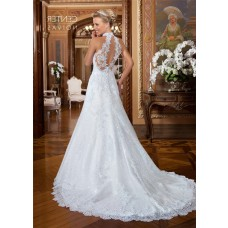 Elegant A Line Halter Open Back Lace Glitter Wedding Dress With Buttons