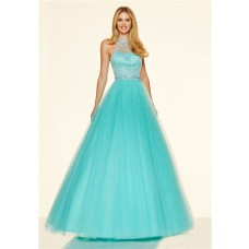 Elegant A Line High Neck Aqua Tulle Beaded Prom Dress With Buttons