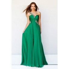 Elegant A Line One Shoulder Long Emerald Green Chiffon Prom Dress With Beaded Strap