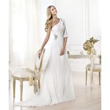Elegant A Line One Shoulder Sleeve Ruched Chiffon Wedding Dress With Beadeding