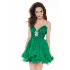 Elegant A Line Short Emerald Green Chiffon Beaded Homecoming Cocktail Party Dress
