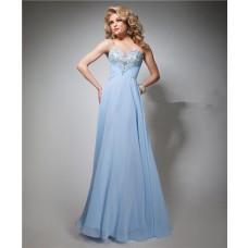 Elegant A Line Strapless Sweetheart Long Light Blue Chiffon Beaded Prom Dress