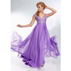 Elegant A Line V Neck Backless Long Lavender Purple Beading Prom Dress Open Back