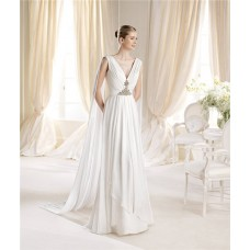 Elegant A Line V Neck Chiffon Draped Wedding Dress With Shawl