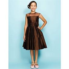 Elegant A line Princess Short Chocolate Brown Taffeta Junior Bridesmaid Dress