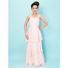 Elegant A line Princess Spaghetti Strap Long Pink Chiffon Junior Bridesmaid Dress