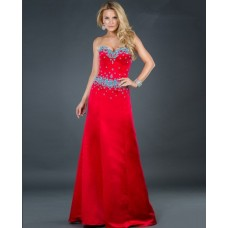 Elegant A line sweetheart long red beaded satin evening dress with train
