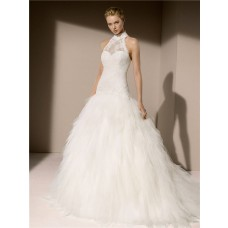 Elegant Ball Gown High Neck Drop Waist Lace Tulle Layered Wedding Dress With Buttons