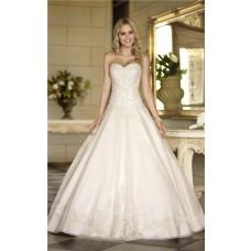 Elegant Ball Gown Strapless Ivory Satin Lace Corset Wedding Dress