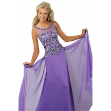 Elegant Bateau Neckline Keyhole Back Long Lilac Chiffon Beaded Teen Prom Dress