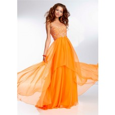 Elegant Flowing Sweetheart Long Orange Chiffon Beaded Prom Dress Open Back