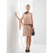 Elegant High Neck Short Nude Draped Chiffon Feather Party Prom Dress With Shawl