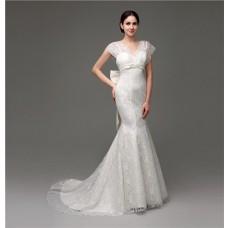 Elegant Mermaid Cap Sleeve Lace Corset Wedding Dress With Bow Sash