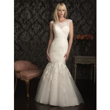 Elegant Mermaid Cap Sleeve Scoop Neck Lace Wedding Dress Pearls Beading