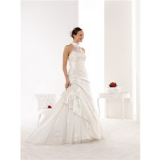 Elegant Mermaid High Neck Taffeta Lace Applique Beaded Wedding Dress