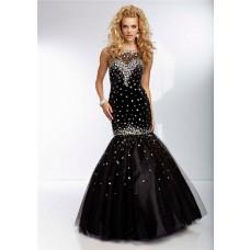 Elegant Mermaid Illusion Neckline Open Back Long Black Tulle Beaded Prom Dress