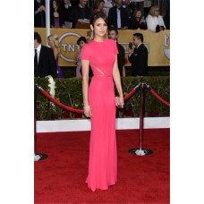 Elegant Mermaid Long Red Chiffon Nina Dobrev Oscar Red Carpet Celebrity Dress