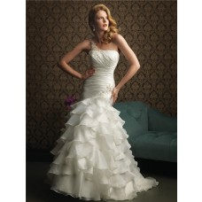 Elegant Mermaid One Shoulder Layered Organza Ruffles Wedding Dress With Ruching