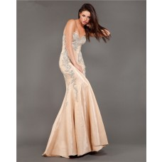 Elegant Mermaid Strapless Champagne Taffeta Beaded Evening Prom Dress