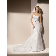 Elegant Mermaid Strapless Sweetheart Venice Lace Wedding Dress With Crystal Sash