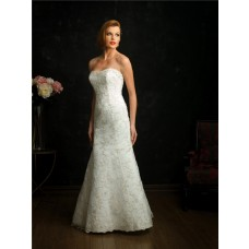 Elegant Mermaid Strapless V Back Lace Wedding Dress With Train