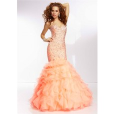 Elegant Mermaid Sweetheart Light Orange Organza Ruffle Prom Dress Corset Back