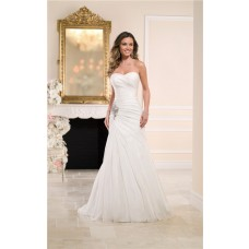 Elegant Mermaid Sweetheart Organza Draped Corset Wedding Dress With Crystals