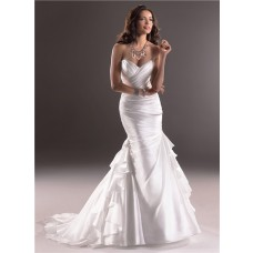 Elegant Mermaid Sweetheart Organza Wedding Dress With Corset Back