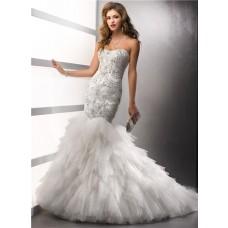 Elegant Mermaid Sweetheart Satin Tulle Wedding Dress With Beading Crystals