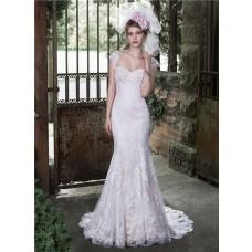 Elegant Mermaid Sweetheart Vintage Lace Wedding Dress Detachable Cap Sleeves