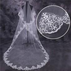 Elegant One Tier Tulle Lace Long Chapel Wedding Bridal Veil