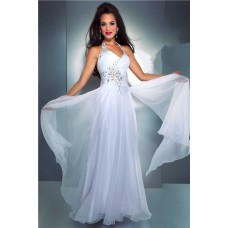Elegant Sheath Halter Long White Chiffon Beaded Evening Prom Dress