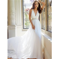 Elegant Sheath Pluning V Neckline Sheer Illusion Back Chiffon Tulle Beaded Wedding Dress