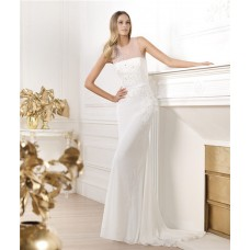 Elegant Sheath Sheer Illusion Scoop Neckline Tulle Chiffon Beaded Sequin Wedding Dress