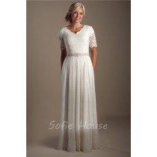Elegant Sheath Short Sleeve Lace Chiffon Modest Beach Wedding Dress With Belt