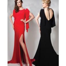 Elegant Sheath Short Sleeve Open Back Long Black Chiffon Evening Prom Dress With Slit