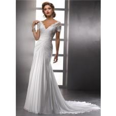 Elegant Sheath V Neck Lace Chiffon Summer Wedding Dress With Short Sleeves Buttons