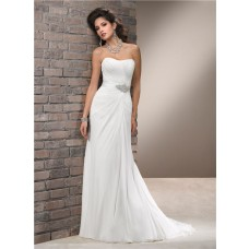 Elegant Simple A Line Strapless Chiffon Wedding Dress With Crystal Sash