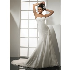 Elegant Simple Mermaid Sweetheart Chiffon Wedding Dress With Pleat Court Train