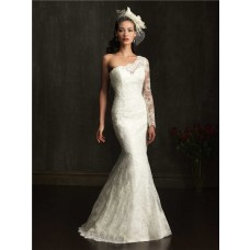 Elegant Slim Mermaid One Shoulder Lace Wedding Dress With Sleeve Buttons