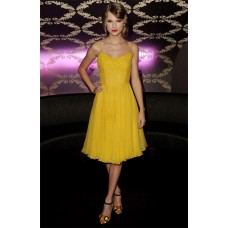 Elegant Spaghetti Strap Short Yellow Chiffon Taylor Swift Celebrity Dress